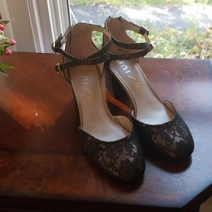 Unisa Gold Black Block Strap Heels 7.5